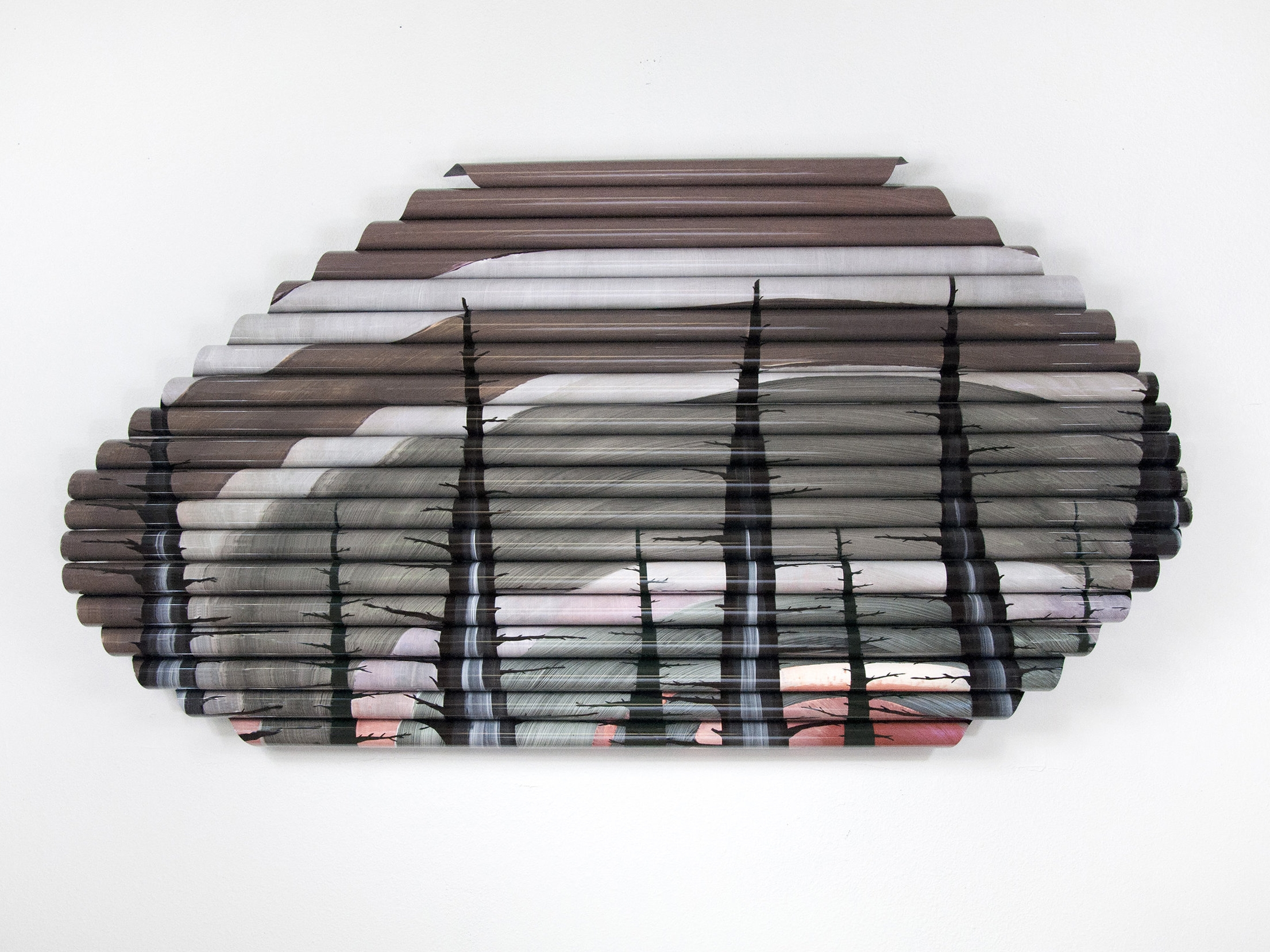 Near Next (for Roger) , acetate, acrylic paint, matte medium, wood, 31 x 58 x 4.25 inches,2016