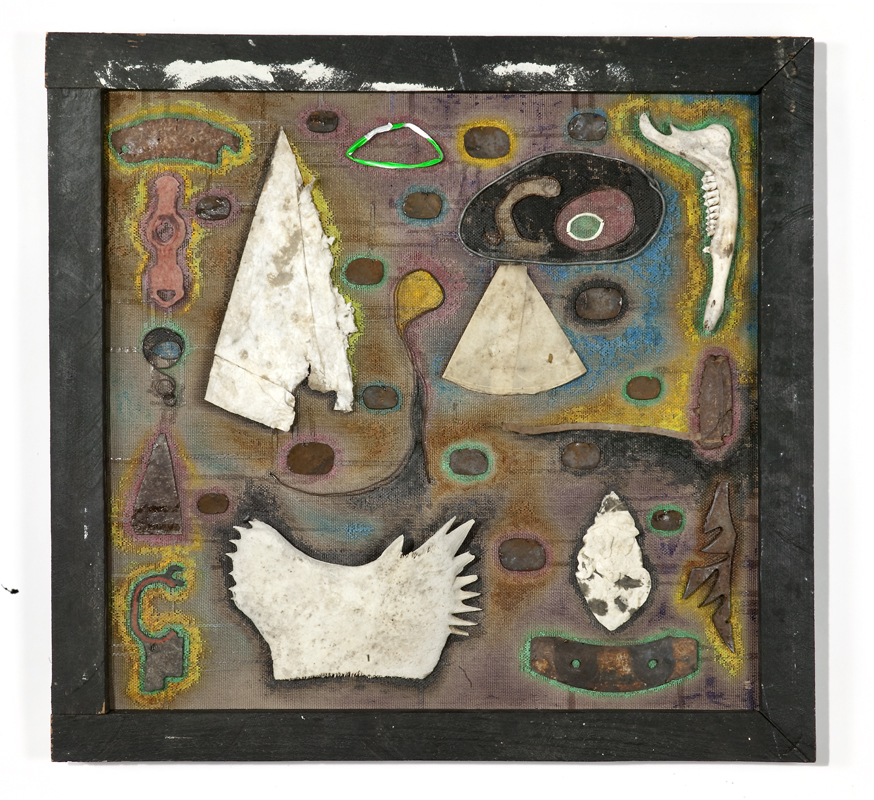 Mysticism and Mortality , Acrylic and found objects on window screen, 27 x 28.5 inches