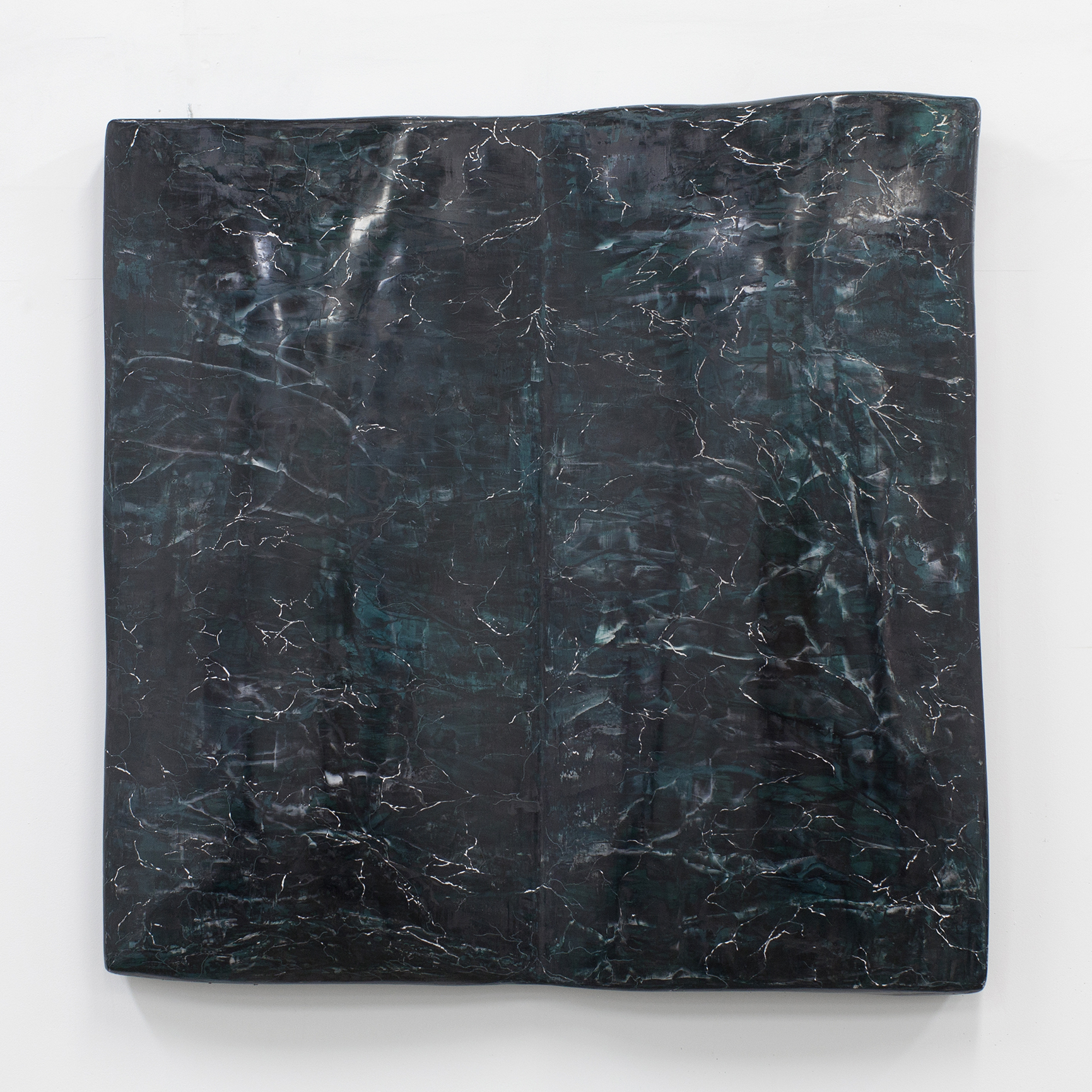 Lydia Enriquez,  Untitled (Tome) , plaster tint and wax on shaped panel, 25 x 25 x 5 inches, 2017