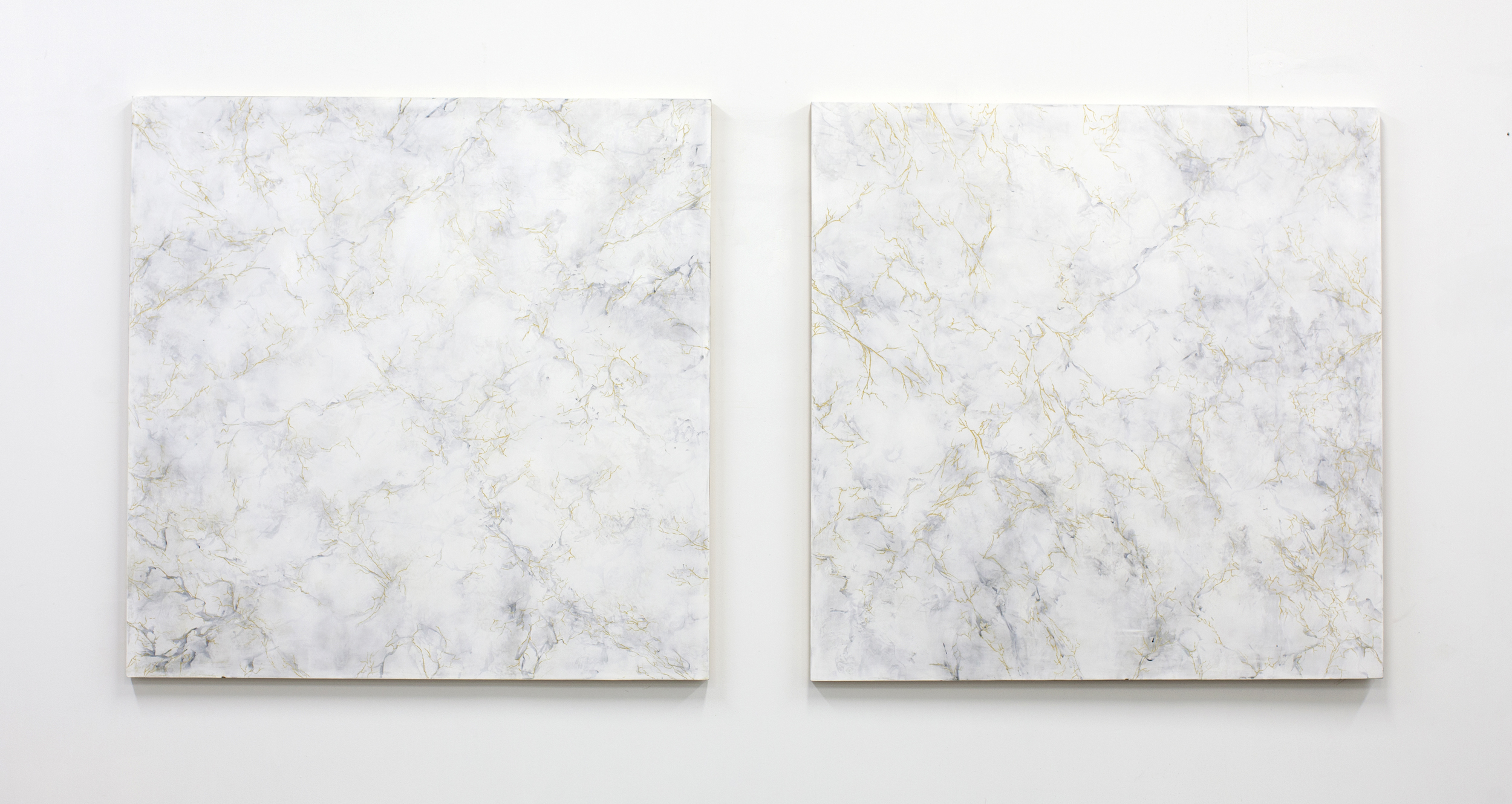 Double Vein , plaster, paint, mica, and wax on carved panel, 36 x 36 inches each, 2017