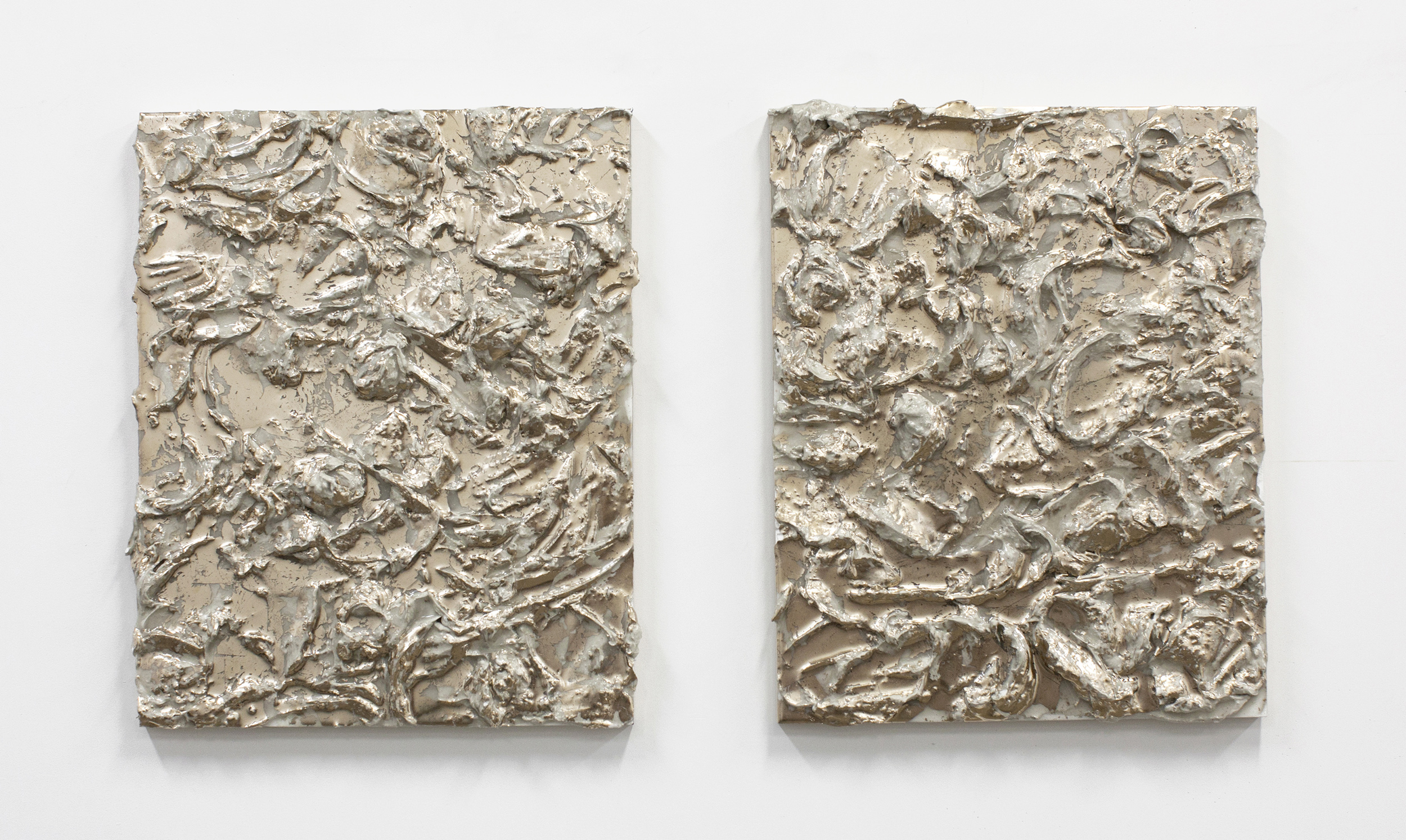 The Dig , diptych, plaster, resin and moon gold on panel, 20 x 16 inches, 2017