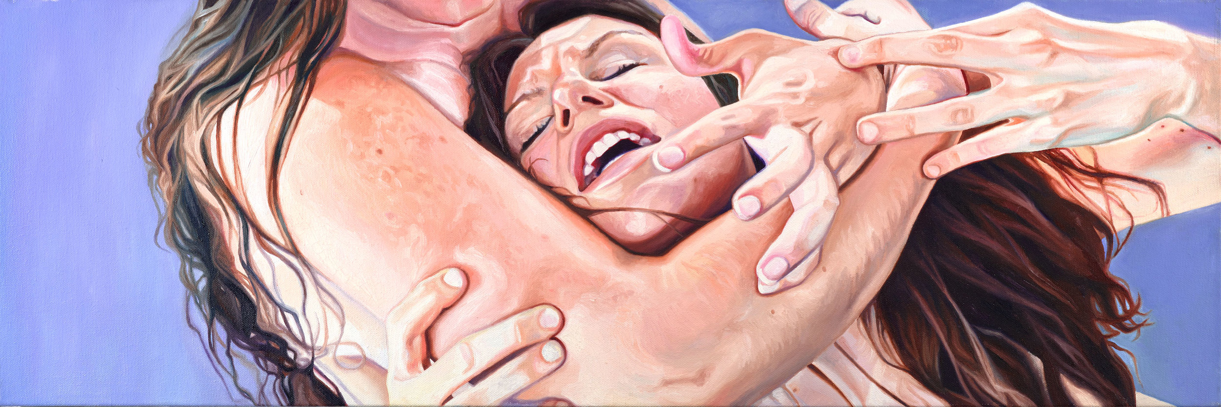 Rage of the Sabines , oil on canvas, 12 x 36 inches, 2015