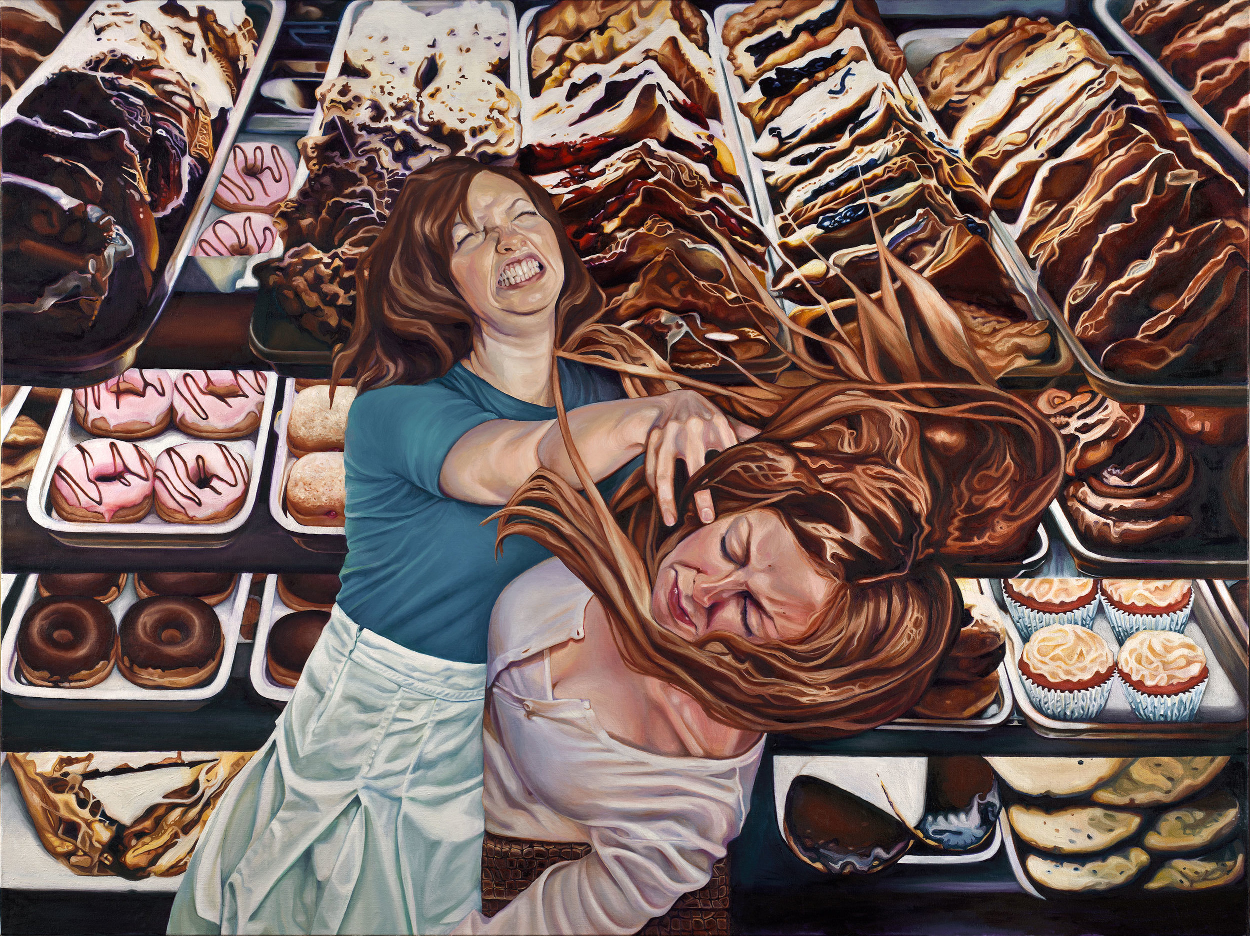 Bakery Brawl , oil on canvas, 36 x 48 inches, 2011