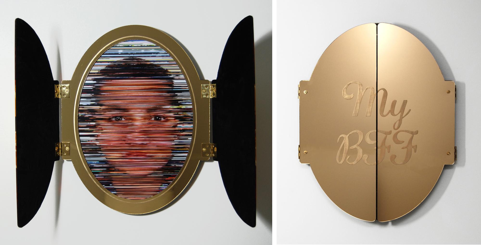 My FB BFF , inkjet print, velvet, gold mirrored plexiglass, 22 x 33 x 2 inches, 2017