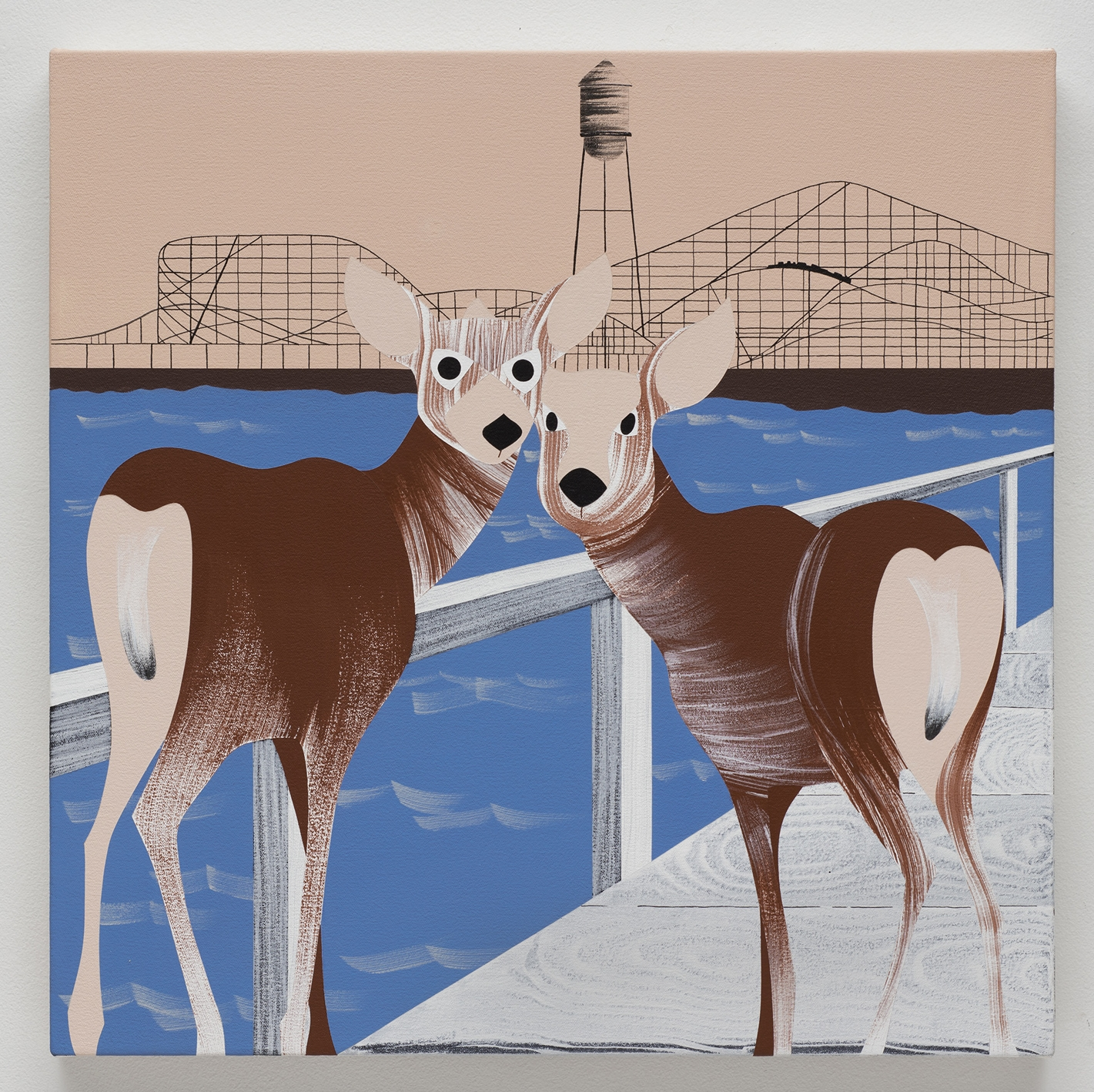 Deer, Pacific Ocean Park , acrylic on canvas, 24 x 24 inches, 2017