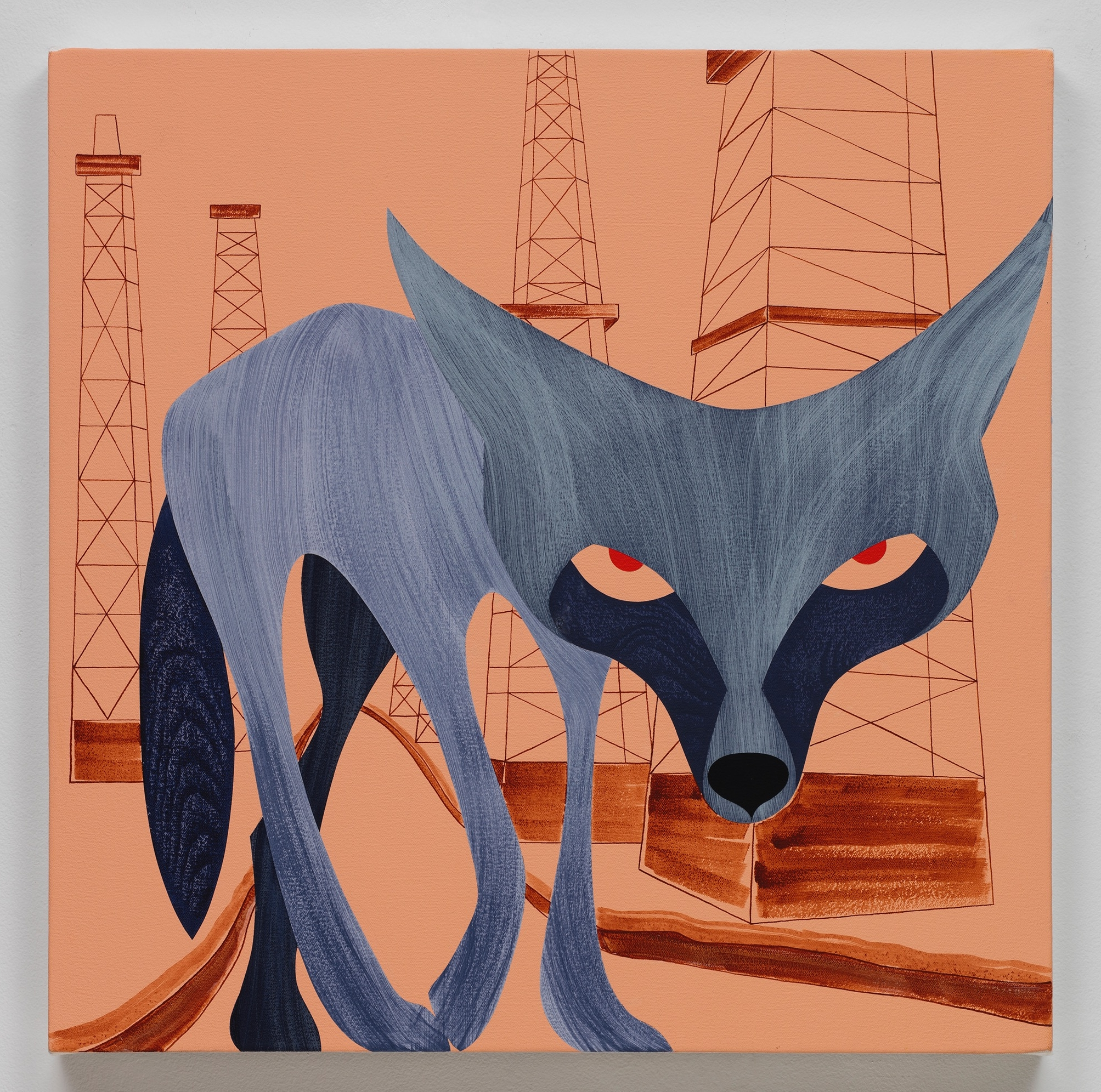 Coyote, Baldwin Hills , acrylic on canvas, 24 x 24 inches, 2017
