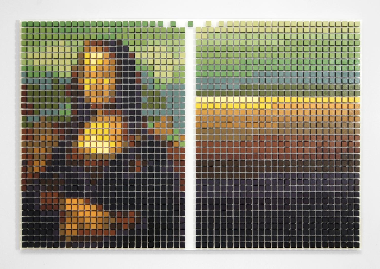 Tyler Bohm,  Mona Lisa Defragged , acrylic on wood and Plexiglas, 23 x 35 x 2 inches