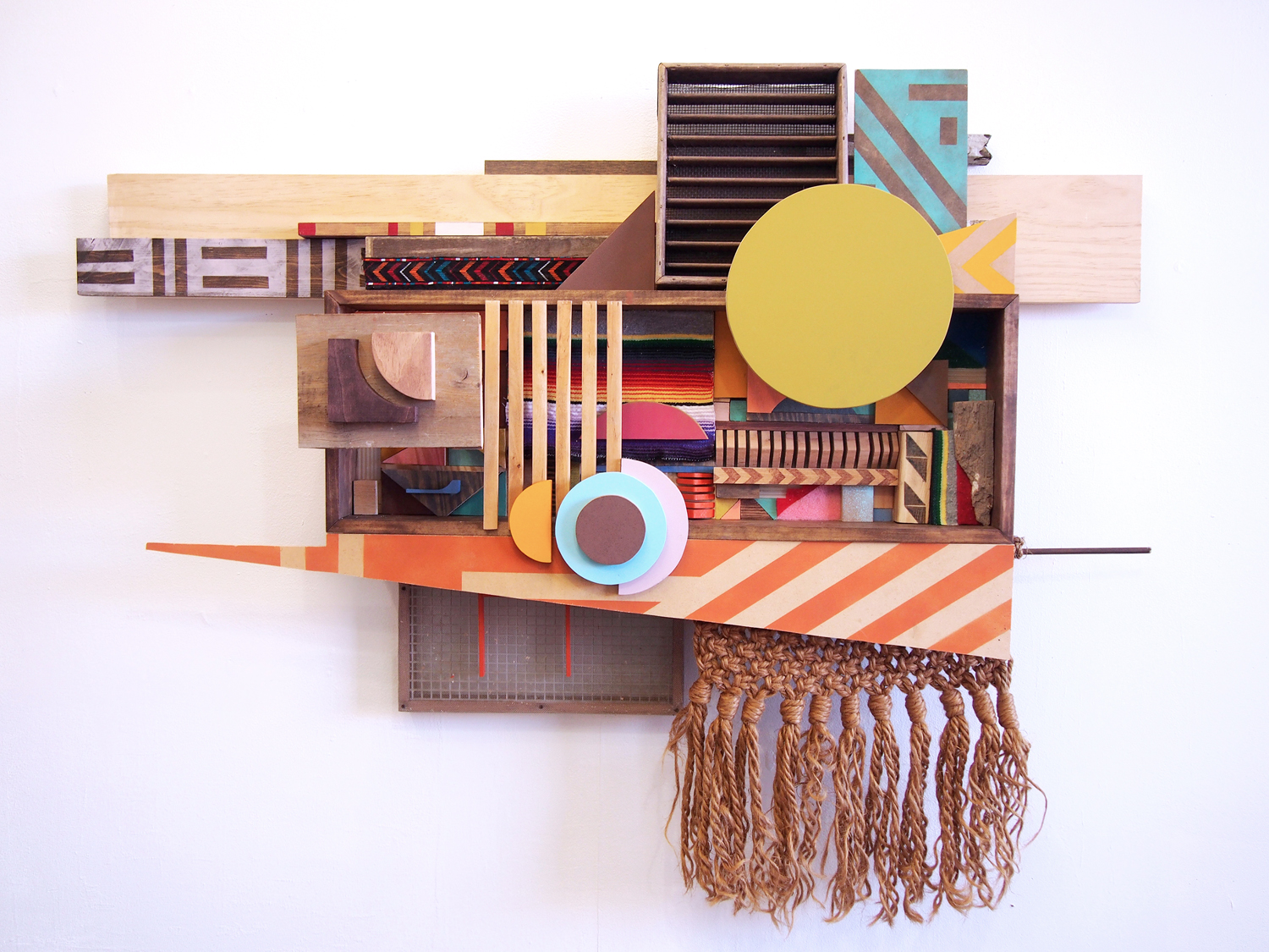 48x64x11 , wood, woven blanket, screens, scouring pads, macramé hanging, plastic, patterned bandana, acrylic paint, oil stain, 48 x 64 x 11 inches, 2017