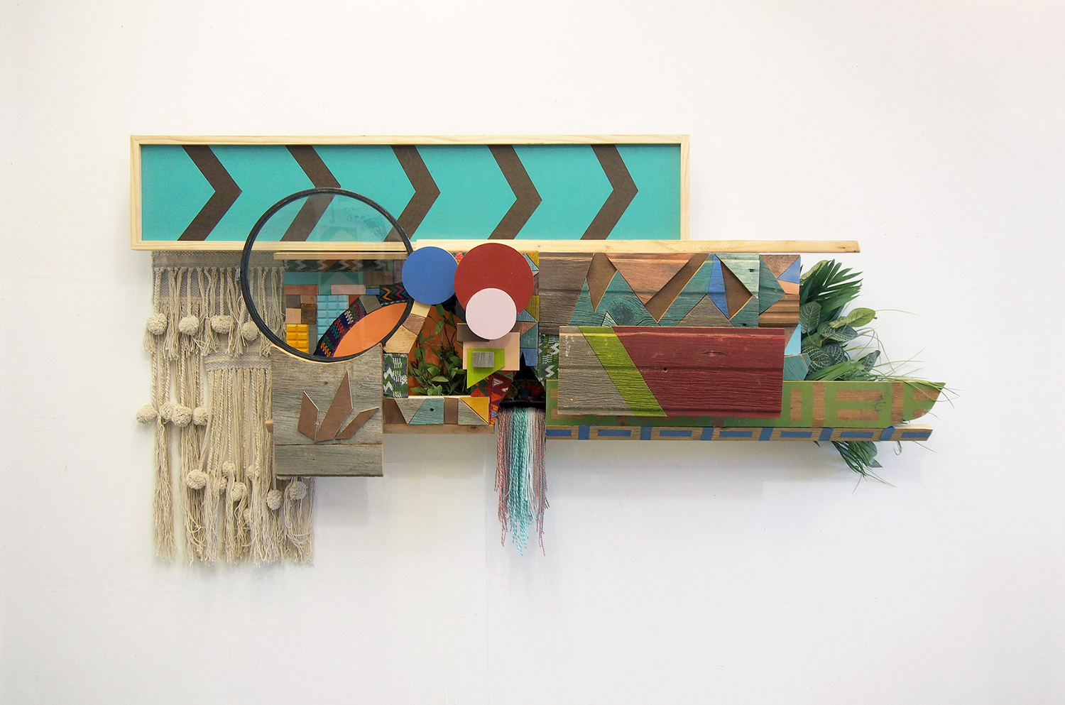 39x72x12 , wood, glass, cardboard, plastic, acrylic paint, oil stain, tape, patterned textiles (Guatemala), woven wall hanging, artificial plants, 39 x 72 x 12 inches