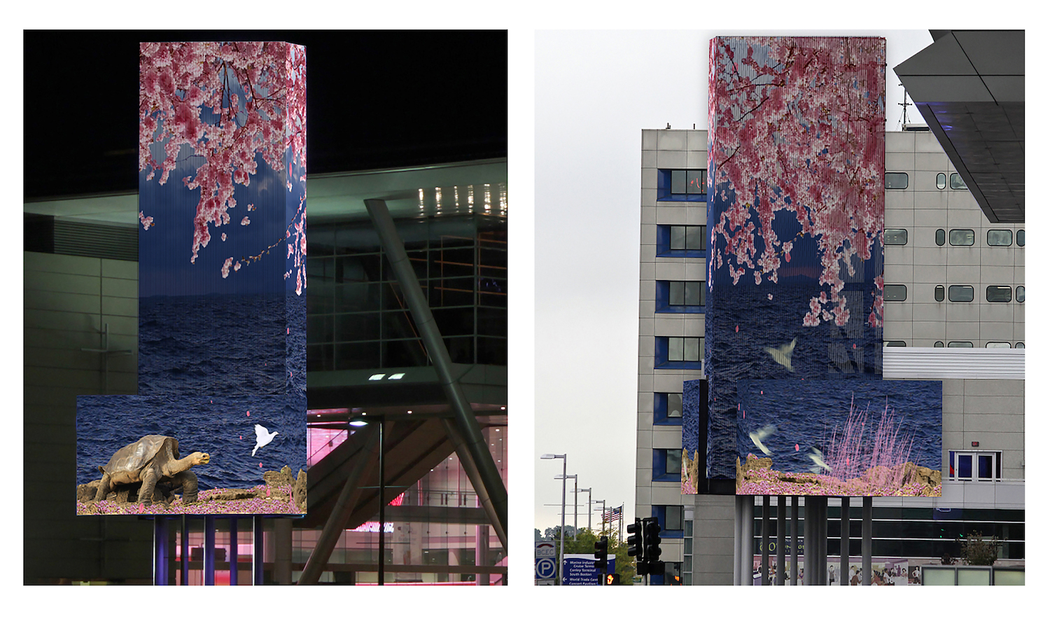 A Poem for Lonesome George , Public art commission for Art on the Marquee,seven screen video installation, 80 x 24 feet on display December 2015 – February 2016