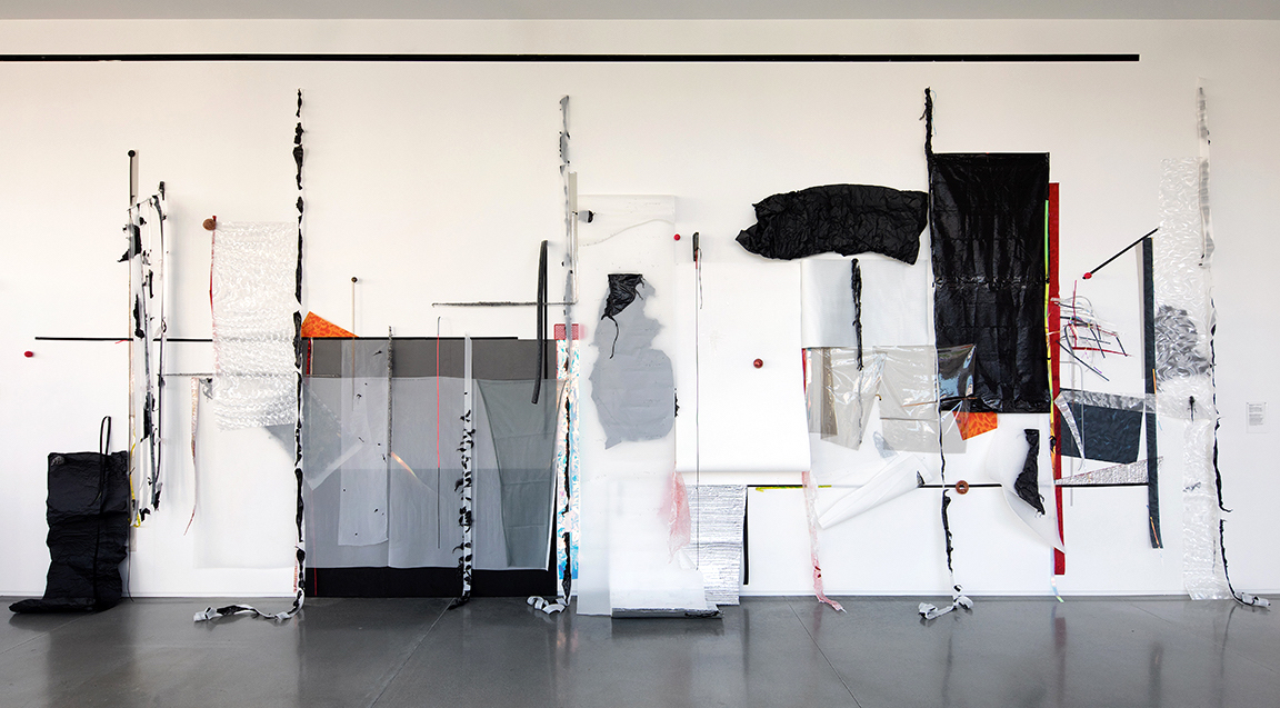 Situations: Zone 6 (Rockland);  2017; Mylar, lenticular plastic, black aluminum foil, foam rubber, styrofoam, plastic garbage bags, plastic tarps, rubber ball, copper and steel mesh, t-pins; Approximately 156 x 384 x 20 inches.  Materiality: The Matter of Matter , Center for Maine Contemporary Art, Rockland, Maine.