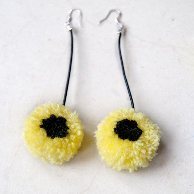 Yellow liquorice allsorts earrings by #nadderzique_textile_design