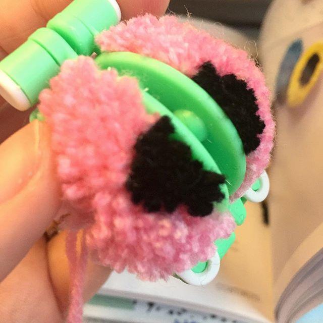 Pom Pom liquorice allsorts earrings in the making @ #nadderzique_textile_design