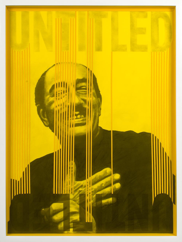 "no.5- Untitled (Anwar Sadat) pencil on paper, collage, yellow plexiglas, 21""x28"" 53cmx71cm,  2007/08"