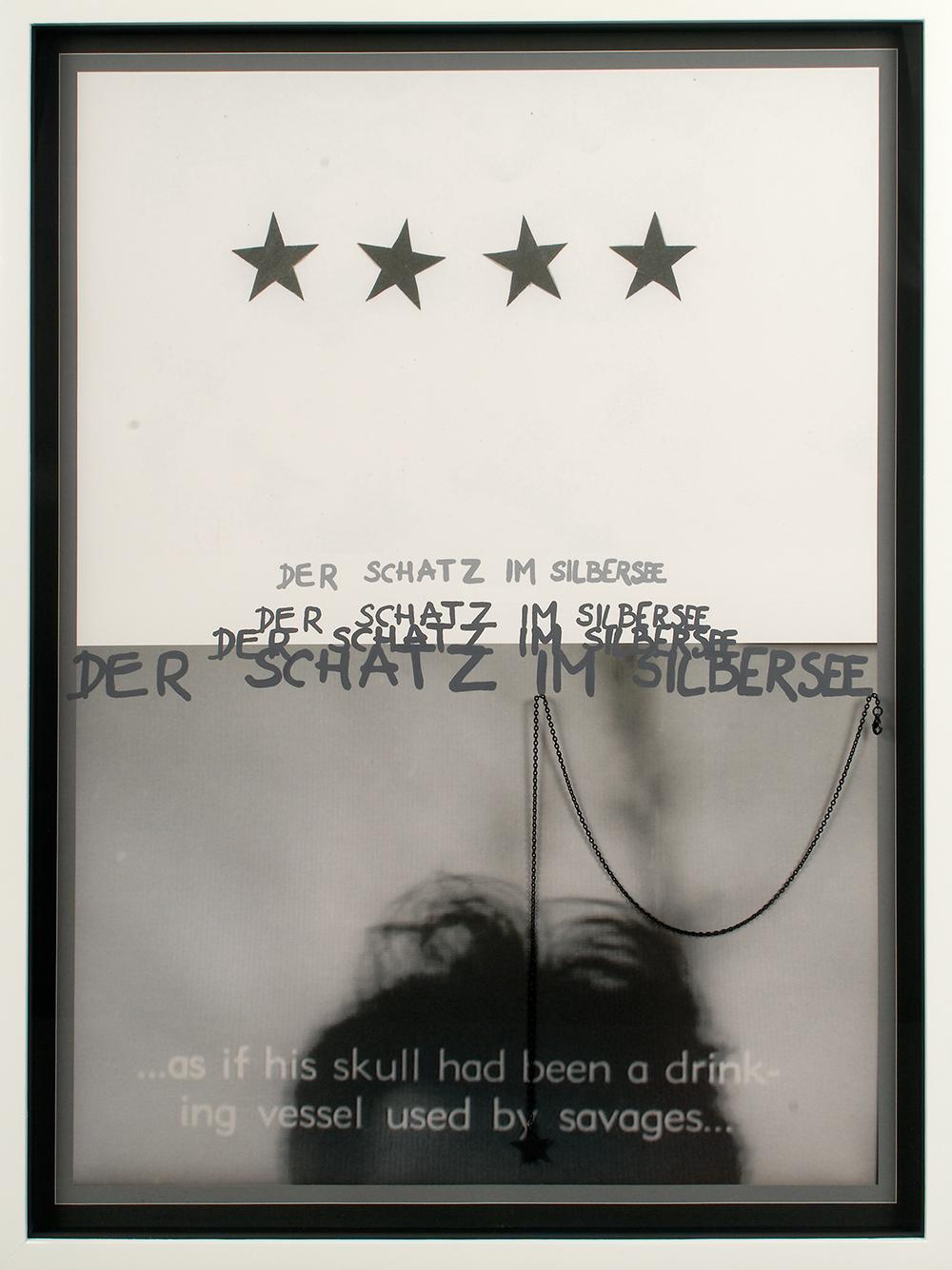"""no.10- Untitled (Der Schatz im Silbersee) tempera on ink jet print, painted gold chain,               21""""x28""""/ 53cmx71cm, 2007/08"""