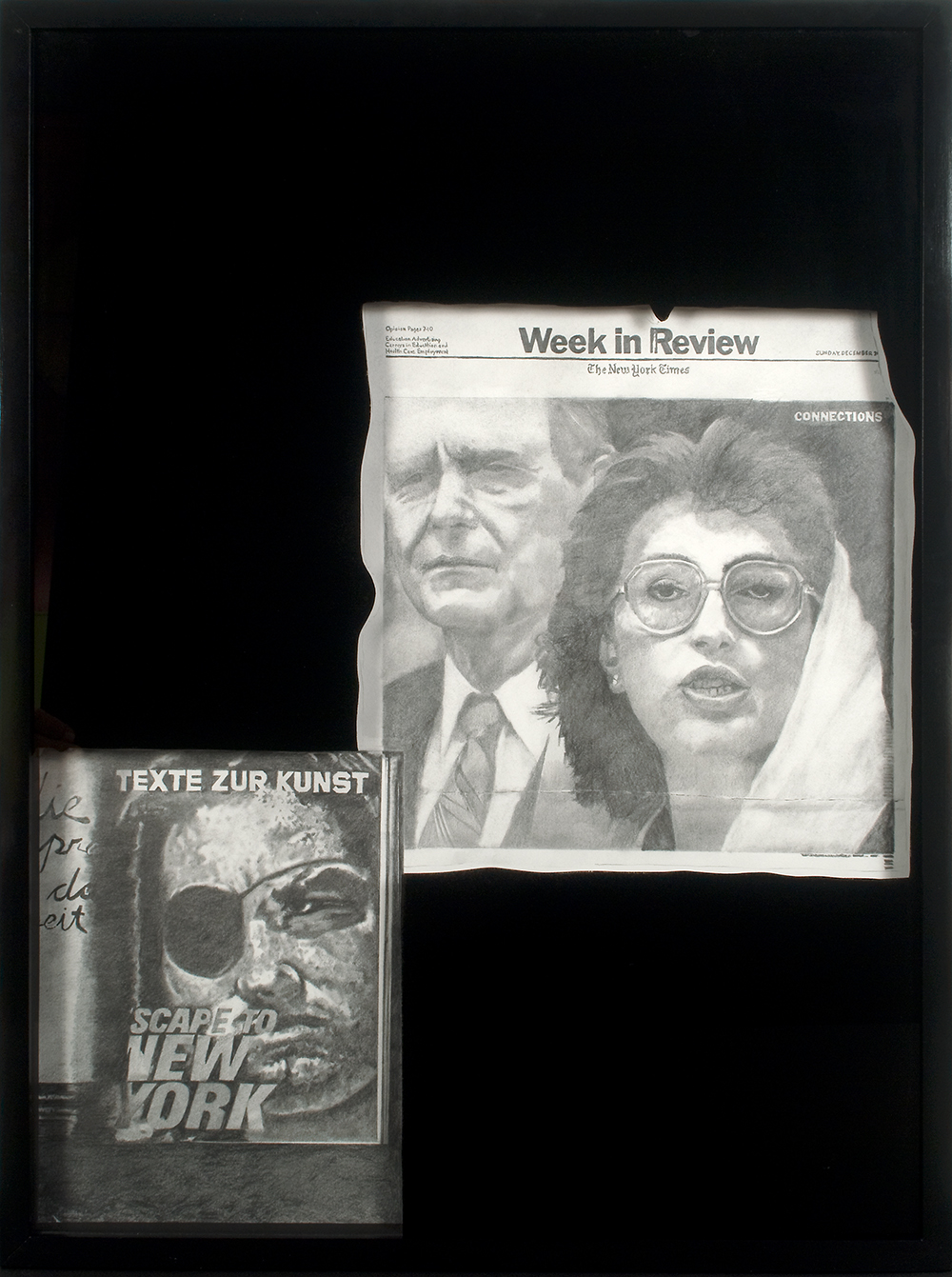 "no.14- Untitled (Benazir Bhutto) pencil on paper, black mirror, 21""x28""/ 53cmx71cm,            2007/08"