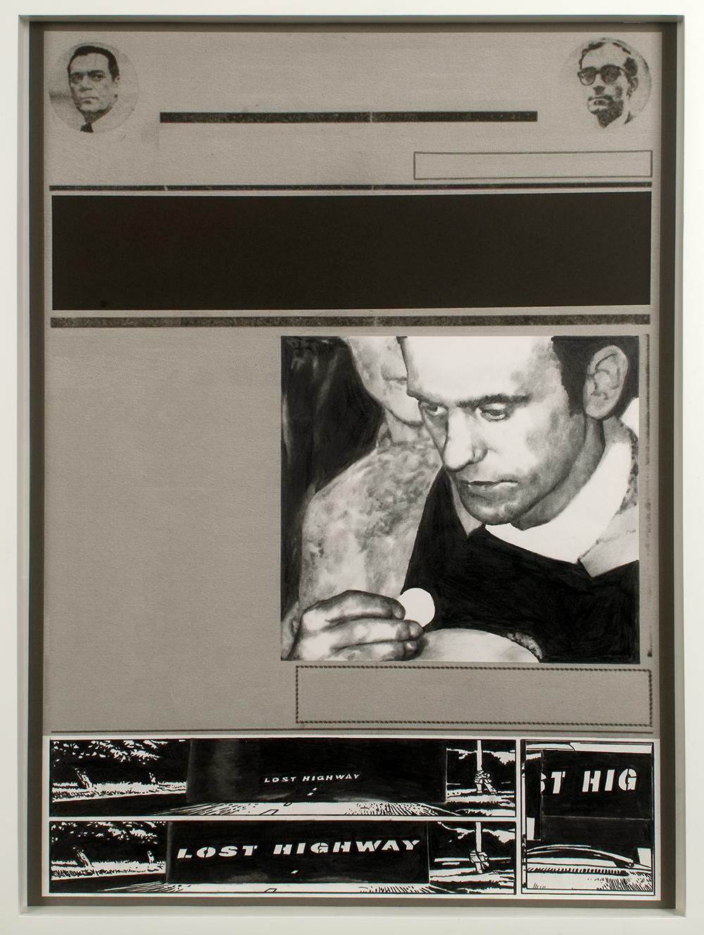 """no.28- Untitled (Jerzy Popieluszko) pencil on paper, ink jet print, 21""""x28""""/ 53cmx71cm,            2007/08"""