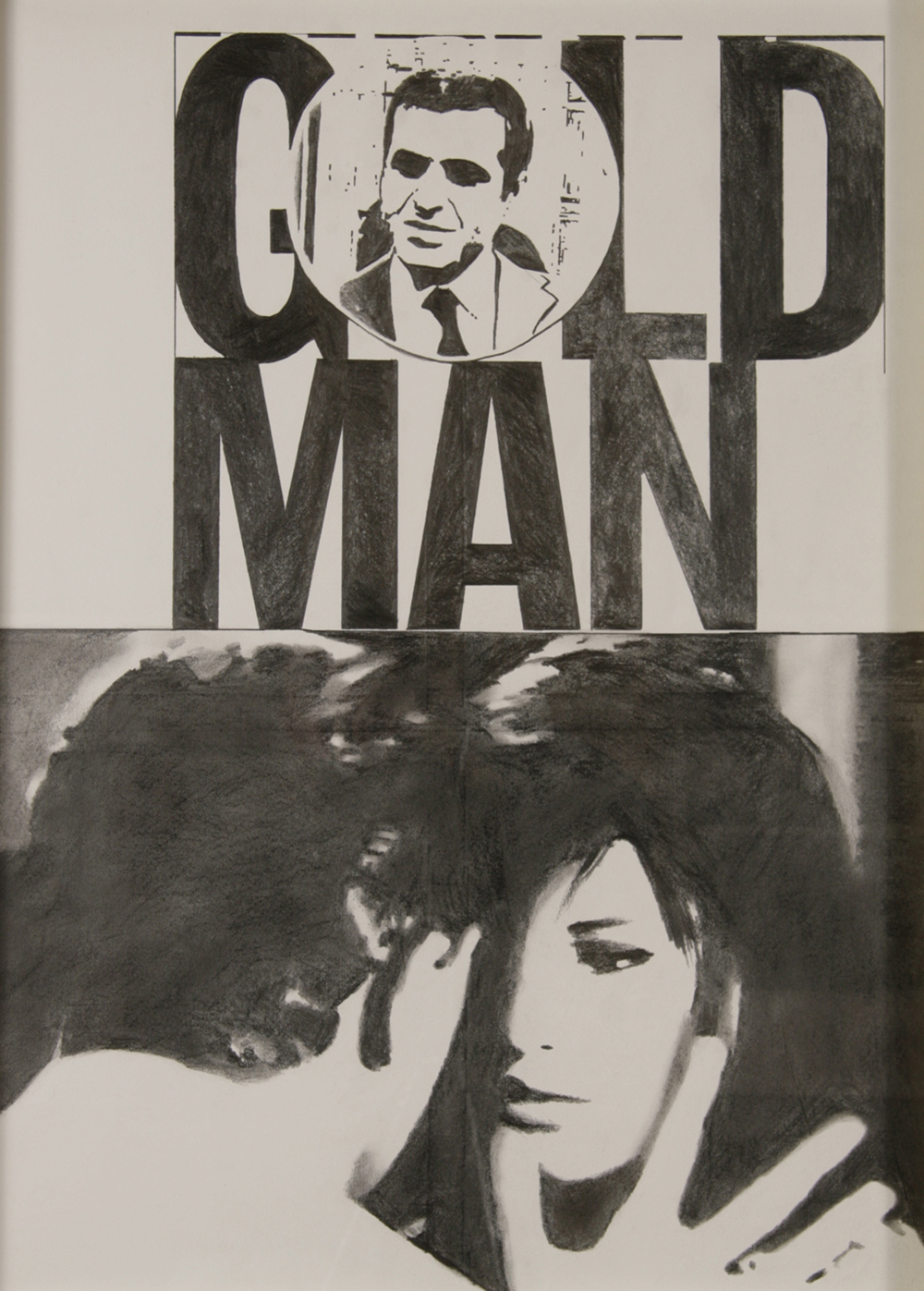 "no.39- Untitled (Goldman),  pencil on paper, ink jet print, 21""x28""/ 53cmx71cm, 2008"