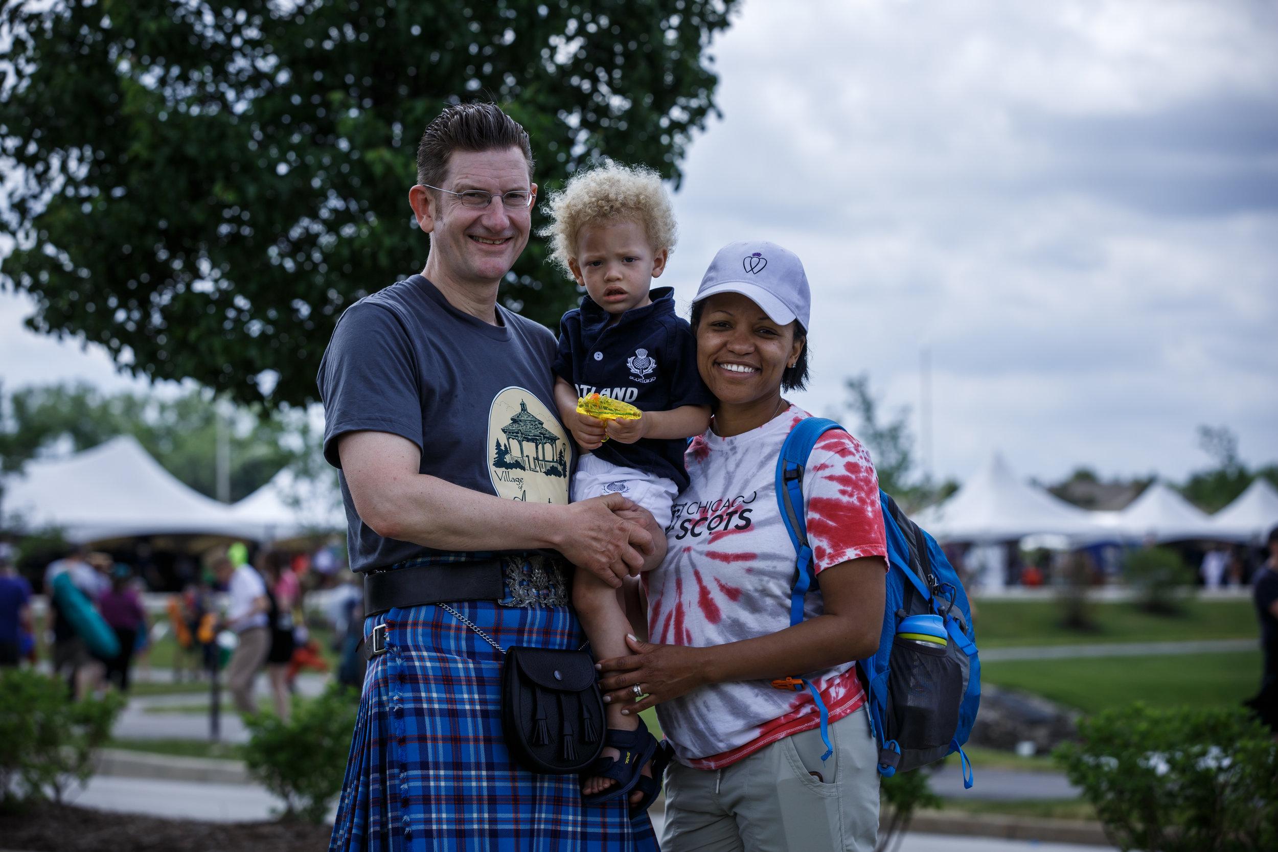 2017 Scottish Festival & Highland Games. Itasca, IL. Gus, Bobby and Aisha Noble.  Photo cred:  James Richards IV