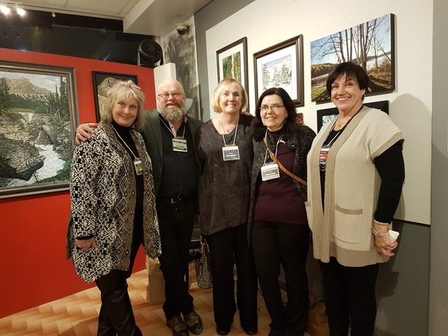 Five of the SOVA artists, left to right, Janice Ykema, Robert Chisholm, Helen Duplassie, Margaret Pardy and Charlene Nickels.