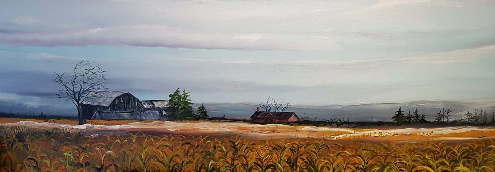 """The finished painting is acrylic, 16 by 48 inches titled """"Uxbridge Farm."""""""