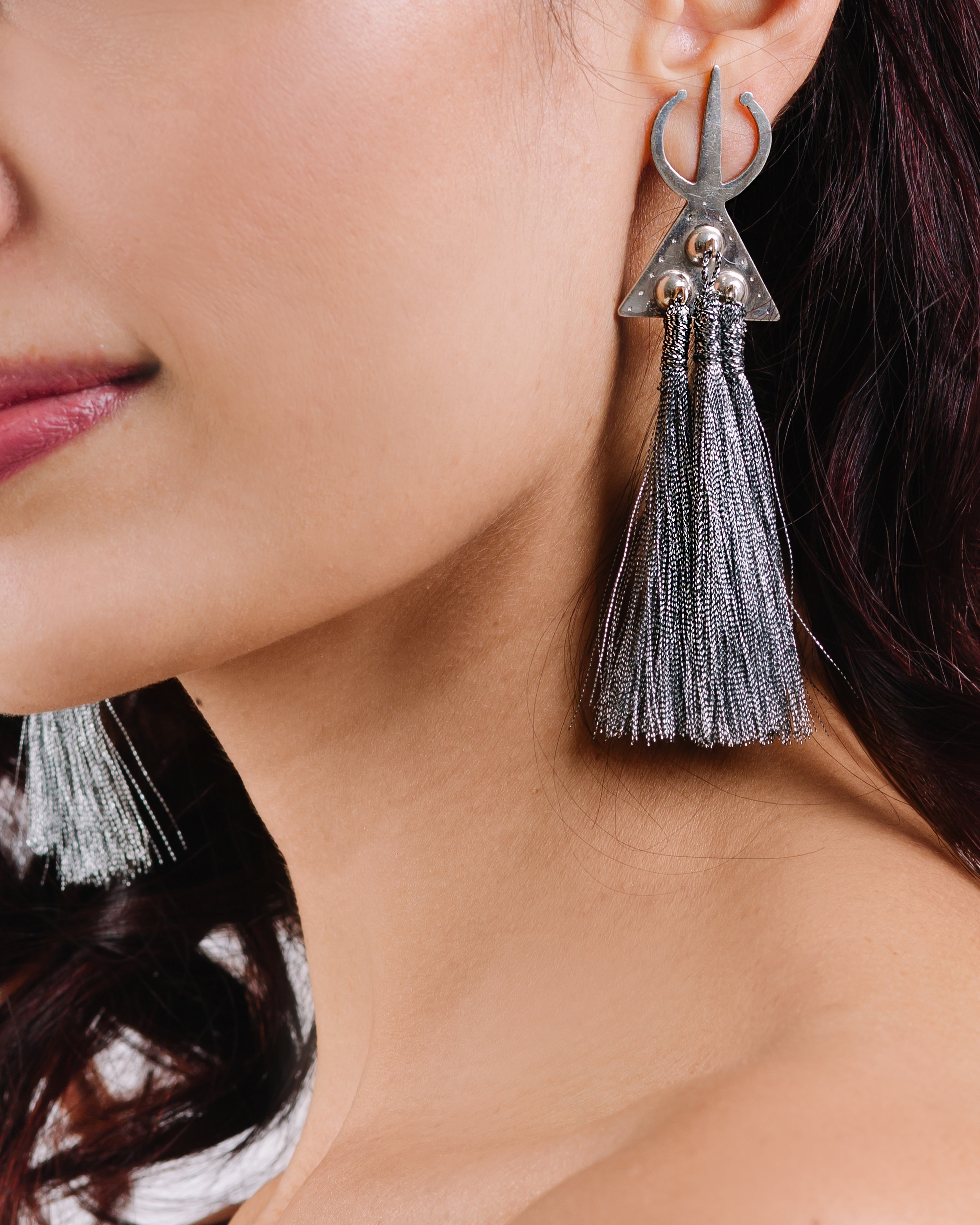 Moroccan Earrings with Silver Tassels