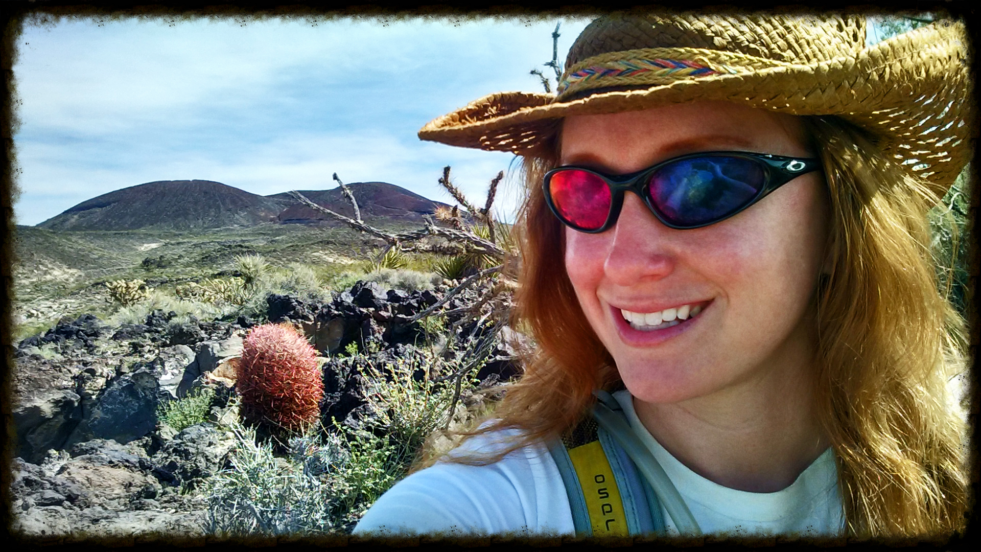 Jess in front of a volcano in California's Mojave Desert. March 2015.