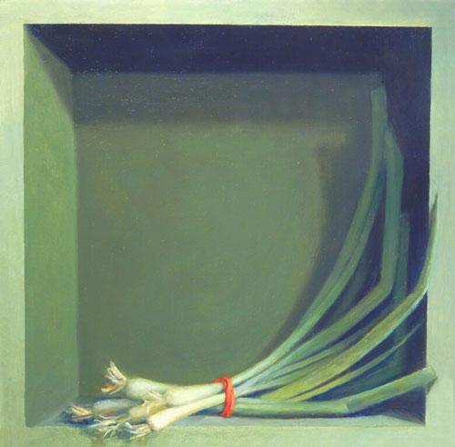 Jean Wetta, Green Onions, 2015. Oil on wood panel, 10 x 10 x 2 inches.
