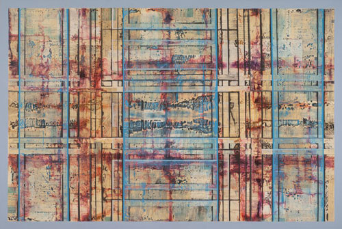 Gavin Zeigler, In Search of Immortality, 2013. Acrylic, Old financial documents, 40 x 60 inches.