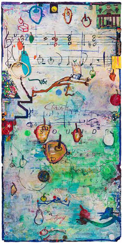 Andrew Saftel,  Musical Fruit , Mixed media on panel, 8 x 4 feet.