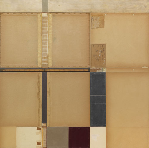 John Fraser,  Tan Intersection with Burgundy Square , 2010. Mixed media collage with found objects on wood panel, 30 x 30 x 1 1/2 inches.