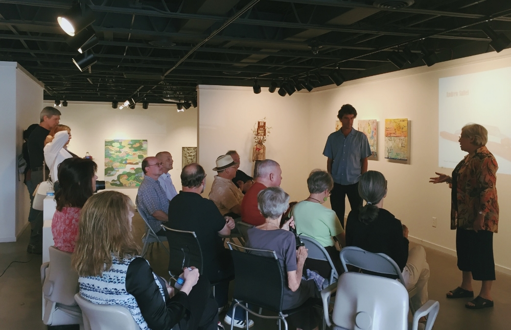 Director Carol Stein introducing Tennessee painter and printmaker Andrew Saftel