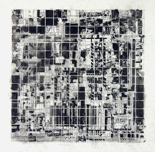 Cheryl Goldsleger,  Aspiration , Graphite and mixed media on Mylar, 16 1/4 x 16 1/4 inches, 2006.