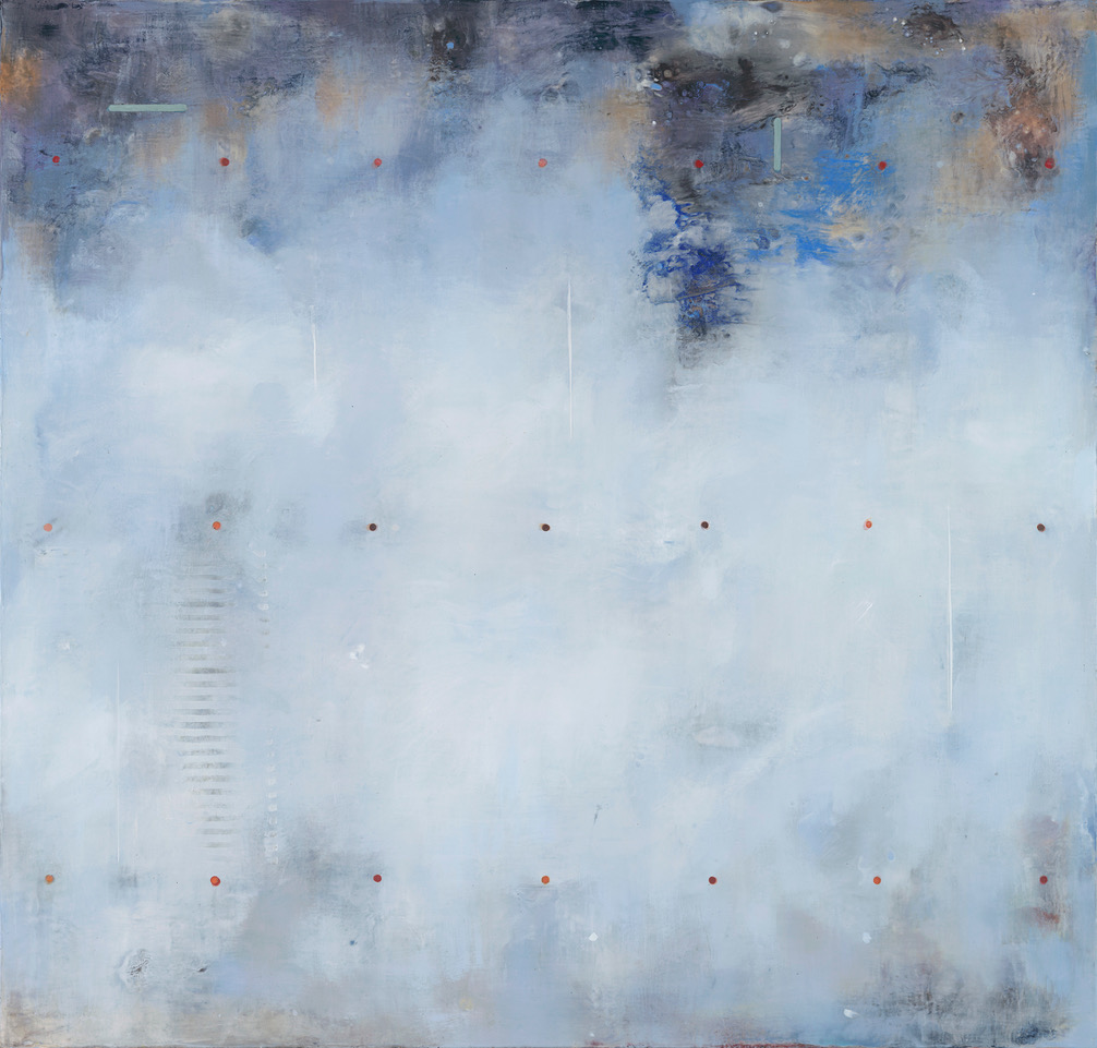 """Blue Moon III (2018), encaustic and mineral pigments on panel, 40"""" x 38"""""""