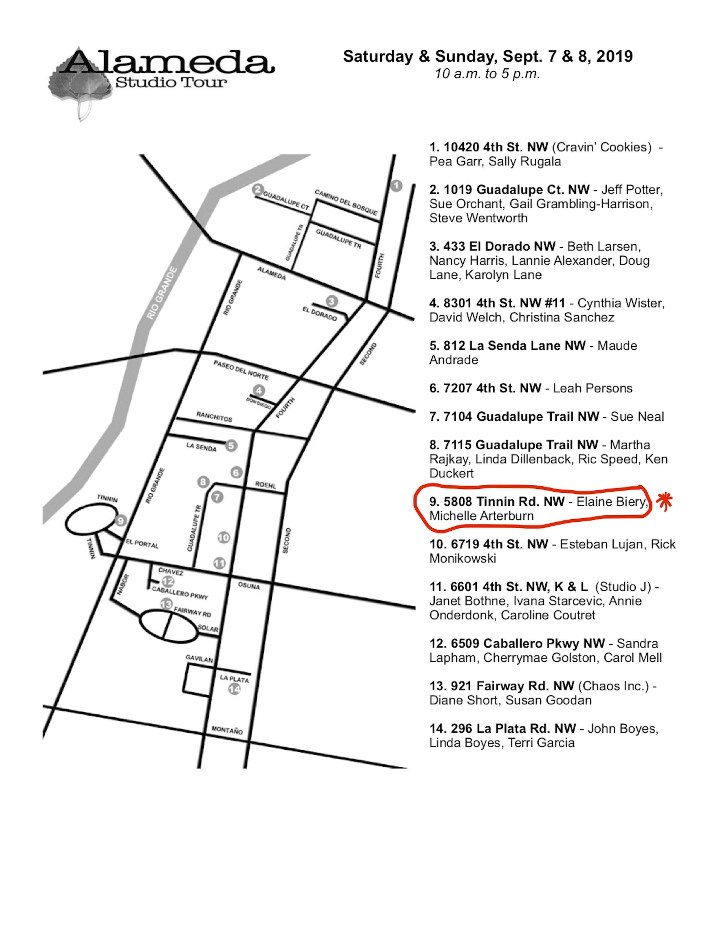Alameda Studio Tour Map