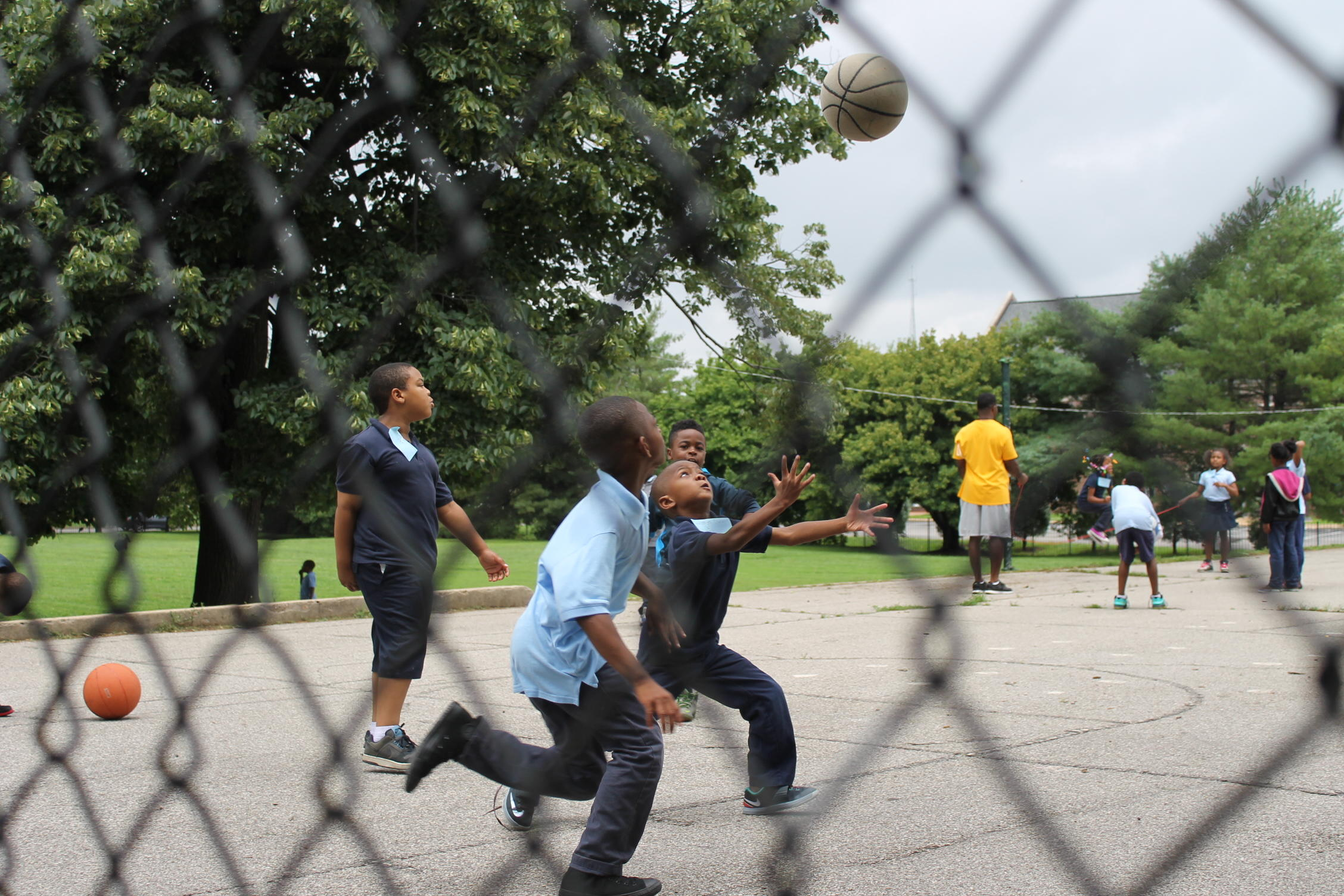 Recess at North Side Community School includes plenty of basketball. SUSANNAH LOHR | ST. LOUIS PUBLIC RADIO