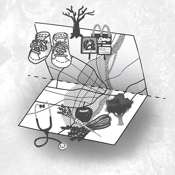 A symbolic representation of health disparities north and south of the Delmar Divide. SUSANNAH LOHR | ST. LOUIS PUBLIC RADIO