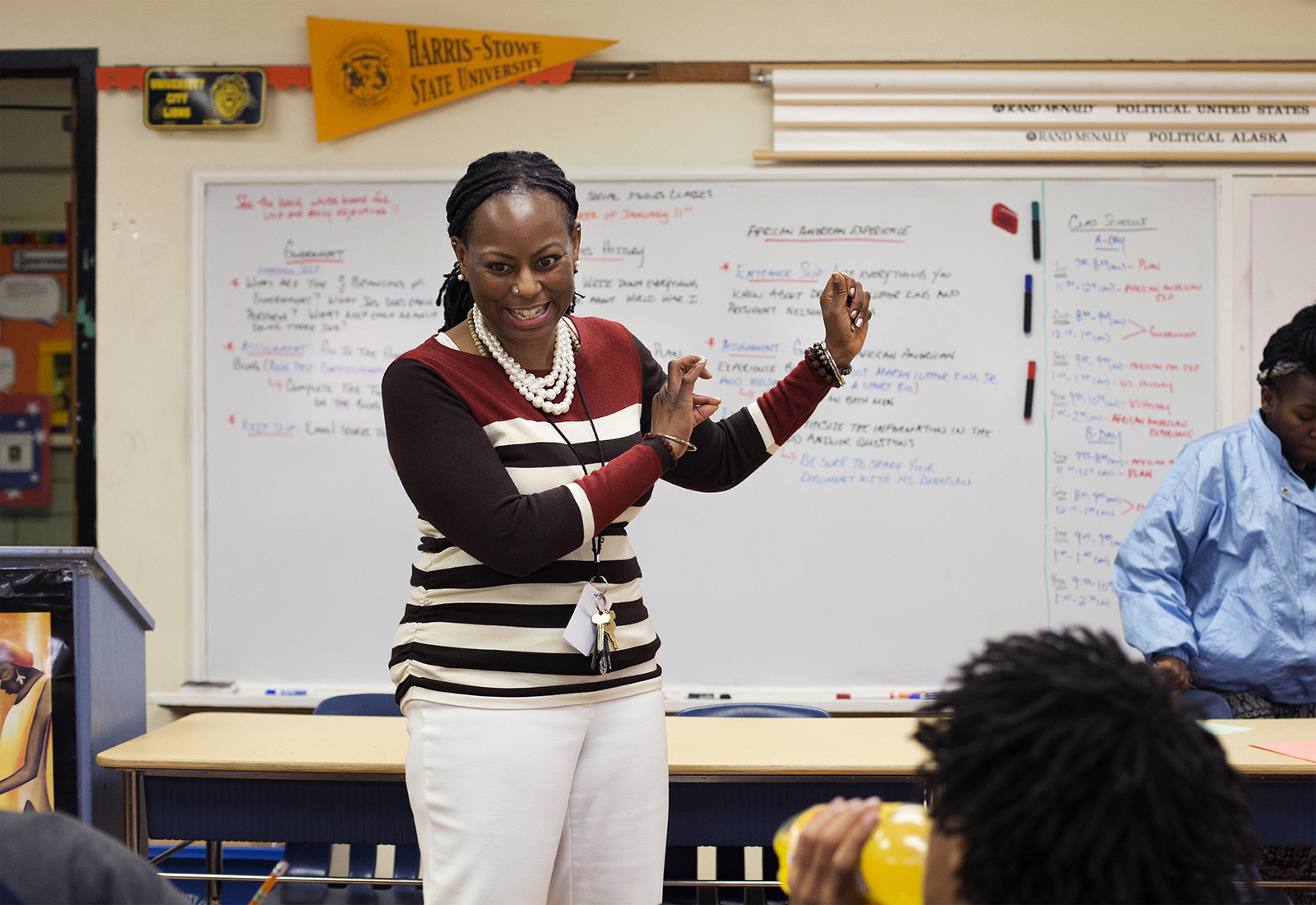 Darlene Donegan jokes with students in her government class at the Lieberman Learning Center, part of the University City School District. CAROLINA HIDALGO | ST. LOUIS PUBLIC RADIO