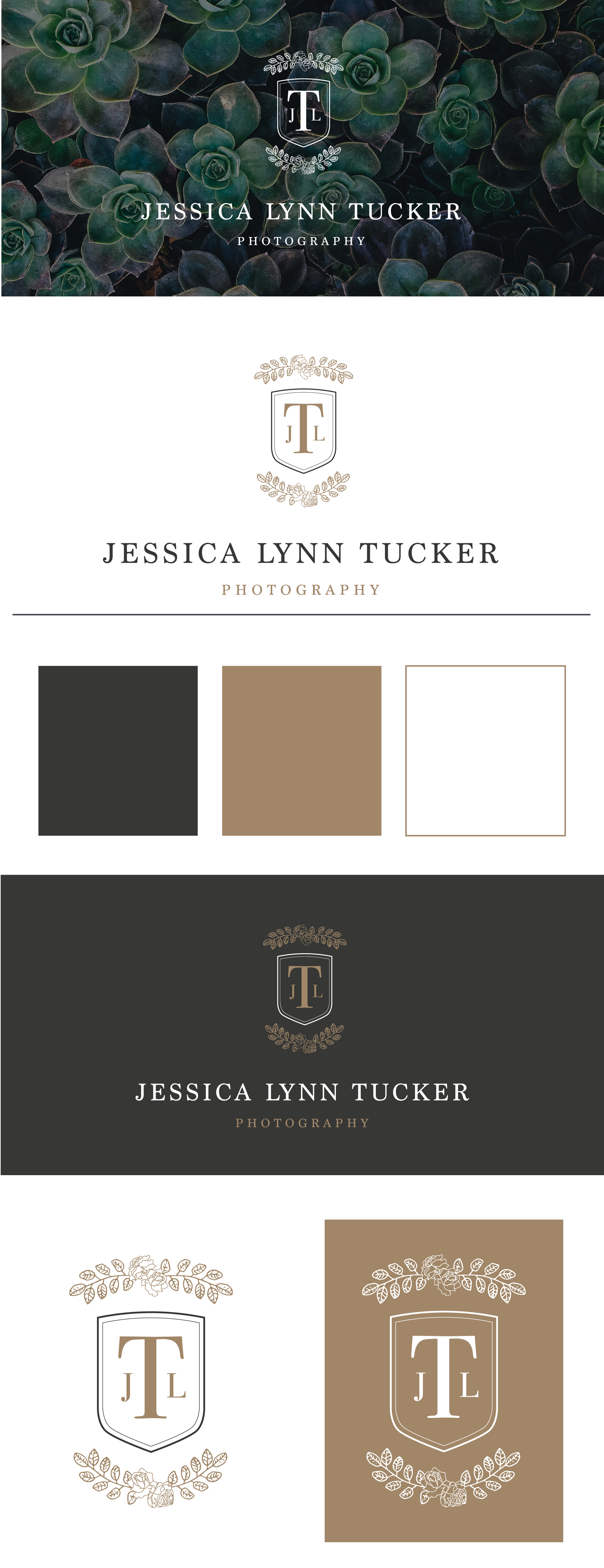 Jessica Lynn Tucker Photography – timeless wedding photographer – Hayley Bigham Designs – Tulsa Oklahoma Branding Studio – floral badge logo