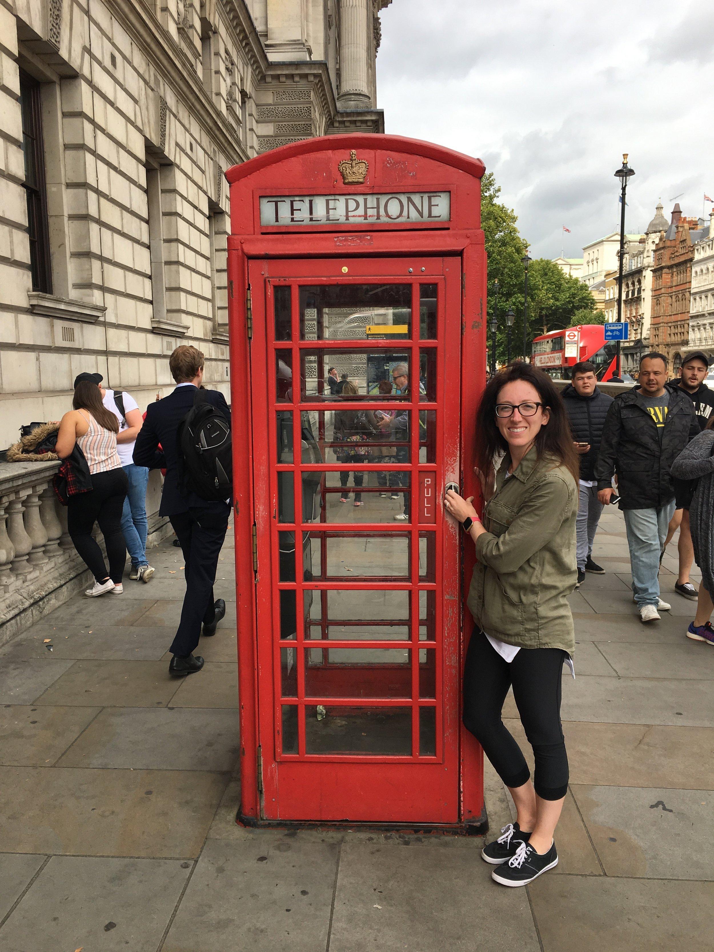 Telephone Booths that line the street near Big Ben