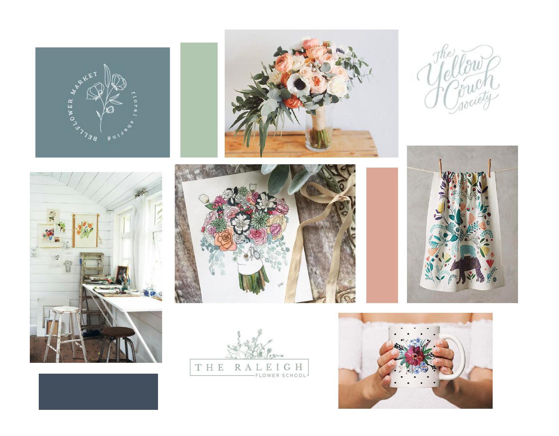 Kristi Holland Designs – custom watercolor painter – Hayley Bigham Designs – Tulsa Oklahoma Branding Studio – floral illustration logo - moodboard
