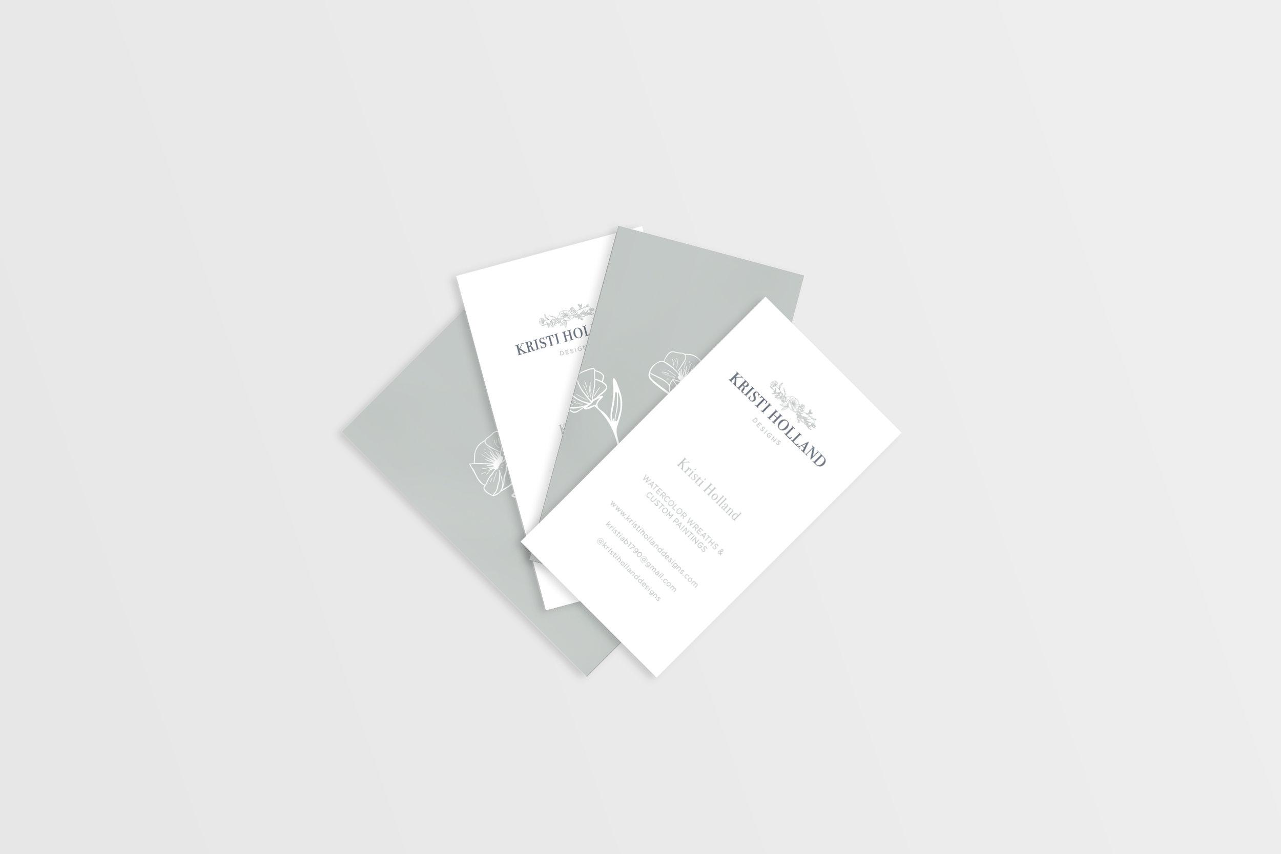 Kristi Holland Designs – custom watercolor painter – Hayley Bigham Designs – Tulsa Oklahoma Branding Studio – floral illustration logo - business card design
