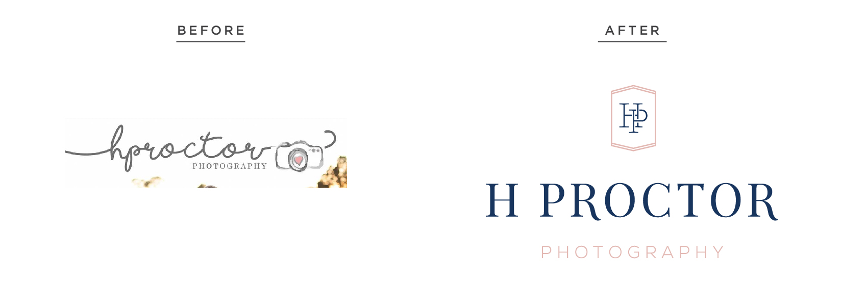 H Proctor Photographer – timeless romantic branding – Hayley Bigham Designs – Tulsa Oklahoma Branding Studio – professional monogram badge - before and after