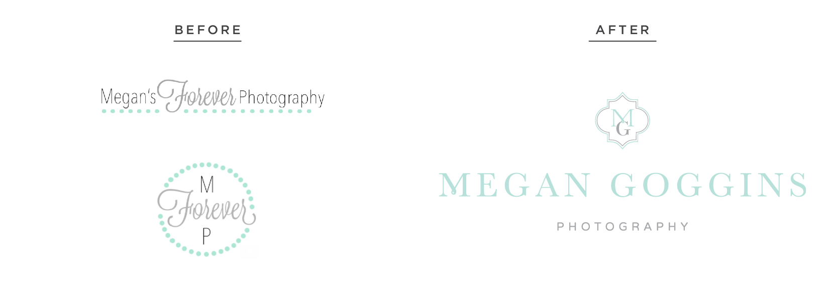 Megan Goggins Photography – classic monogram branding – Hayley Bigham Designs – Tulsa Oklahoma Branding Studio – feminine mint color - before and after