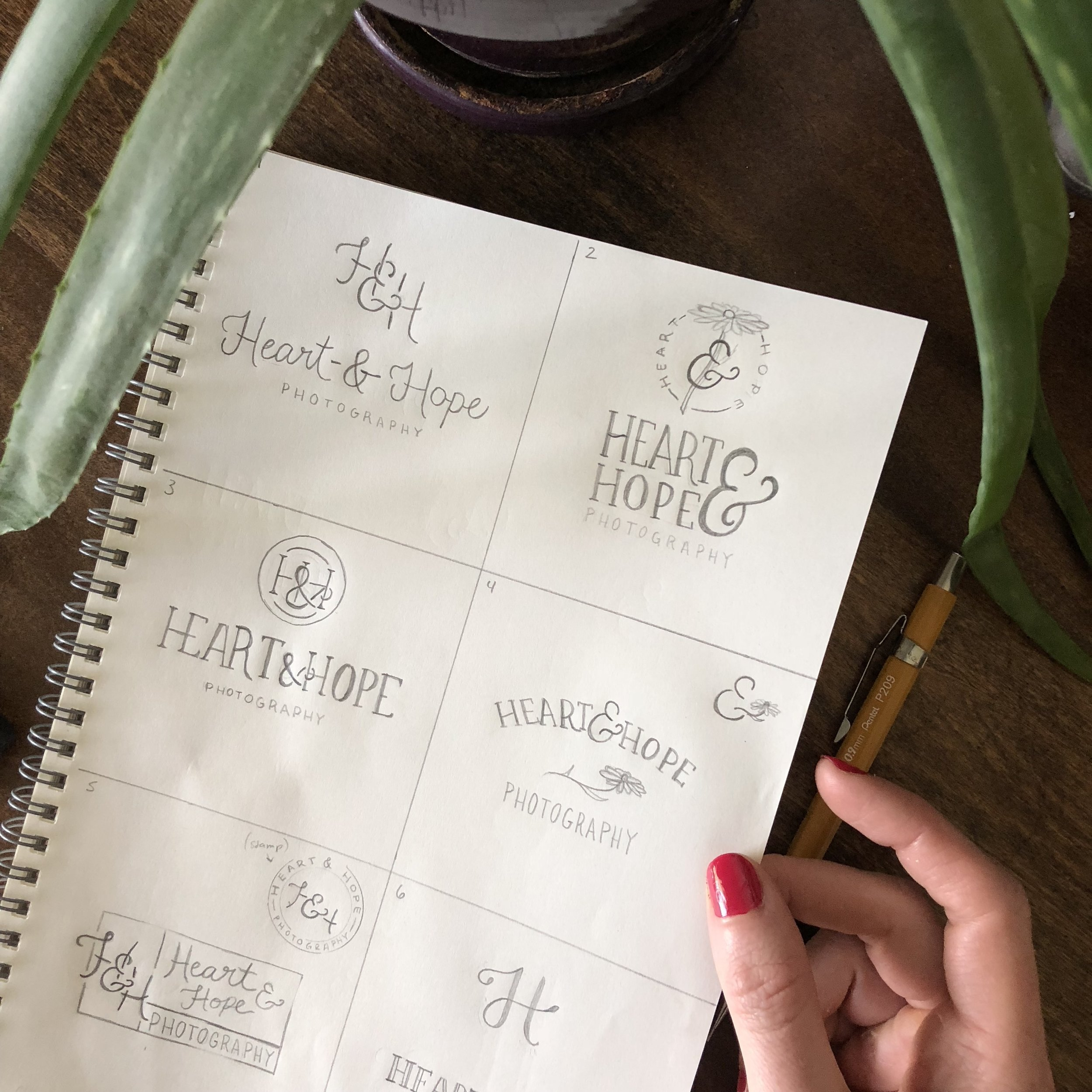 Heart and Hope Photography - Tulsa brand designer - logo sketches - hayley bigham designs - photography brand design
