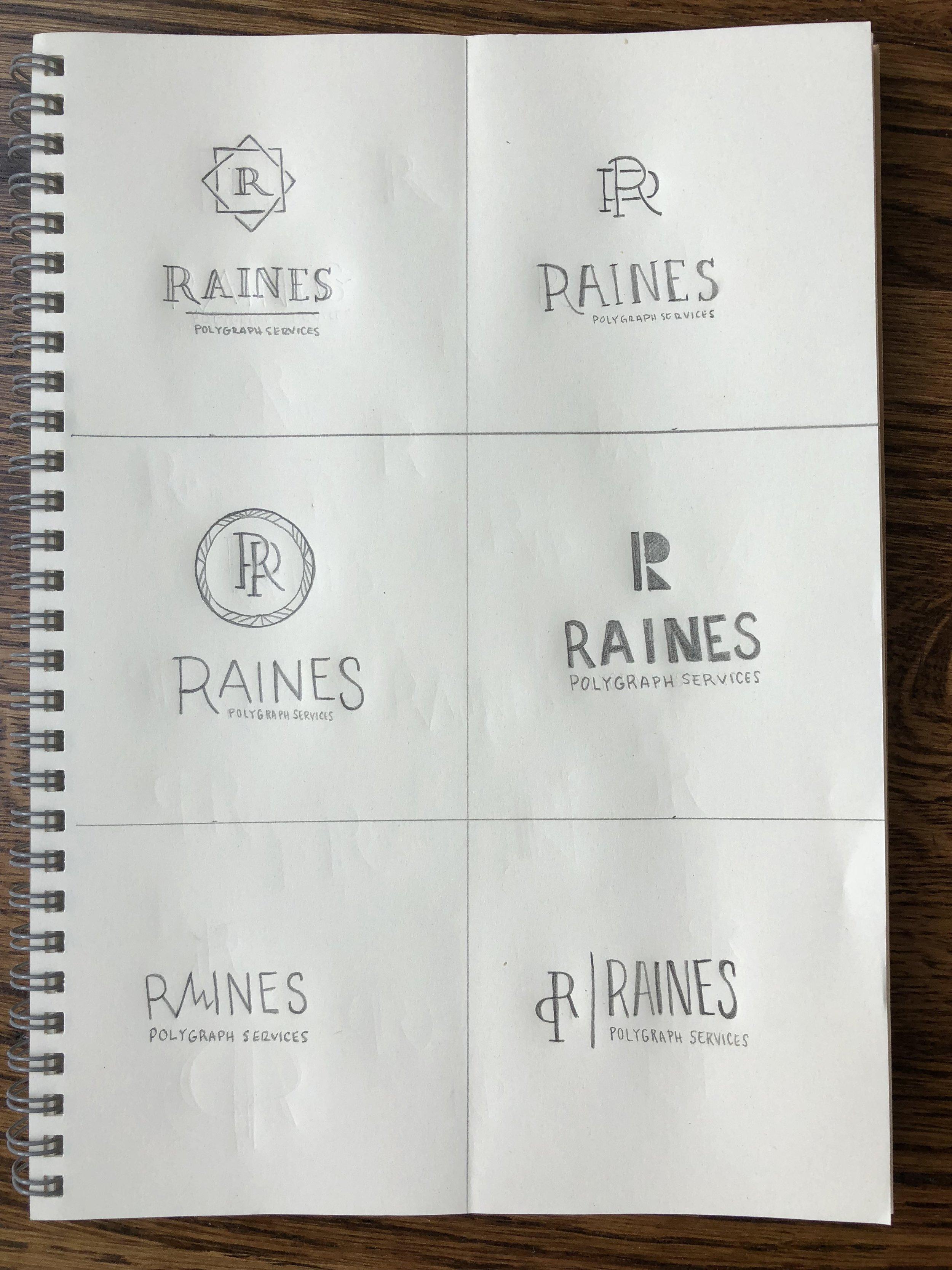 Raines Polygraph Services - Hayley Bigham Designs - tulsa brand designer - logo sketches