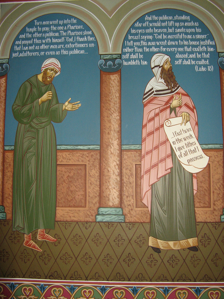 Icon of the Publican and the Pharisee in Saint Michael's Orthodox Church in Louisville, Kentucky.