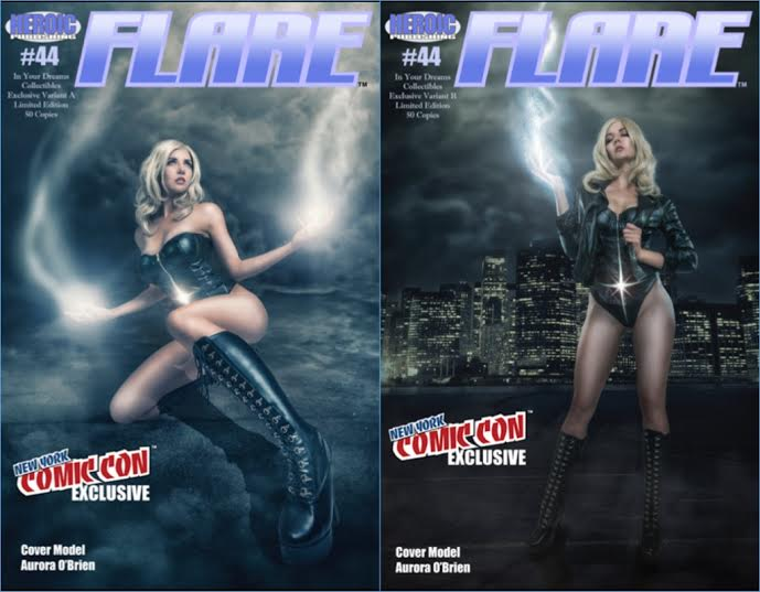 Not long ago I received one of the most exciting emails I've gotten in a while!  In Your Dreams Collectibles wrote me & asked if I would be interested in being on the cover of their NEW YORK COMIC CON EXCLUSIVE VARIANT as Flare for Hero Publishing!!Me? On the cover of a comic book?!