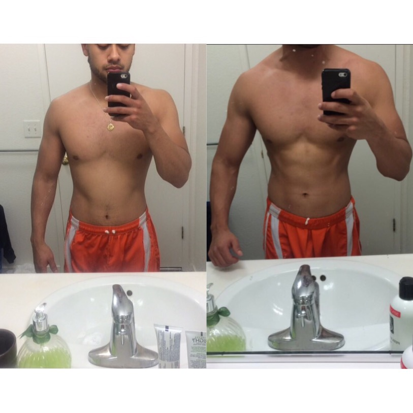 1 Month Training - Jose's physique responded really good to the program I had him on. Started off with heavy weights and a diet calculated for cutting body fat. Only 4 weeks of training, and his genetic's came into play, for a clean look.