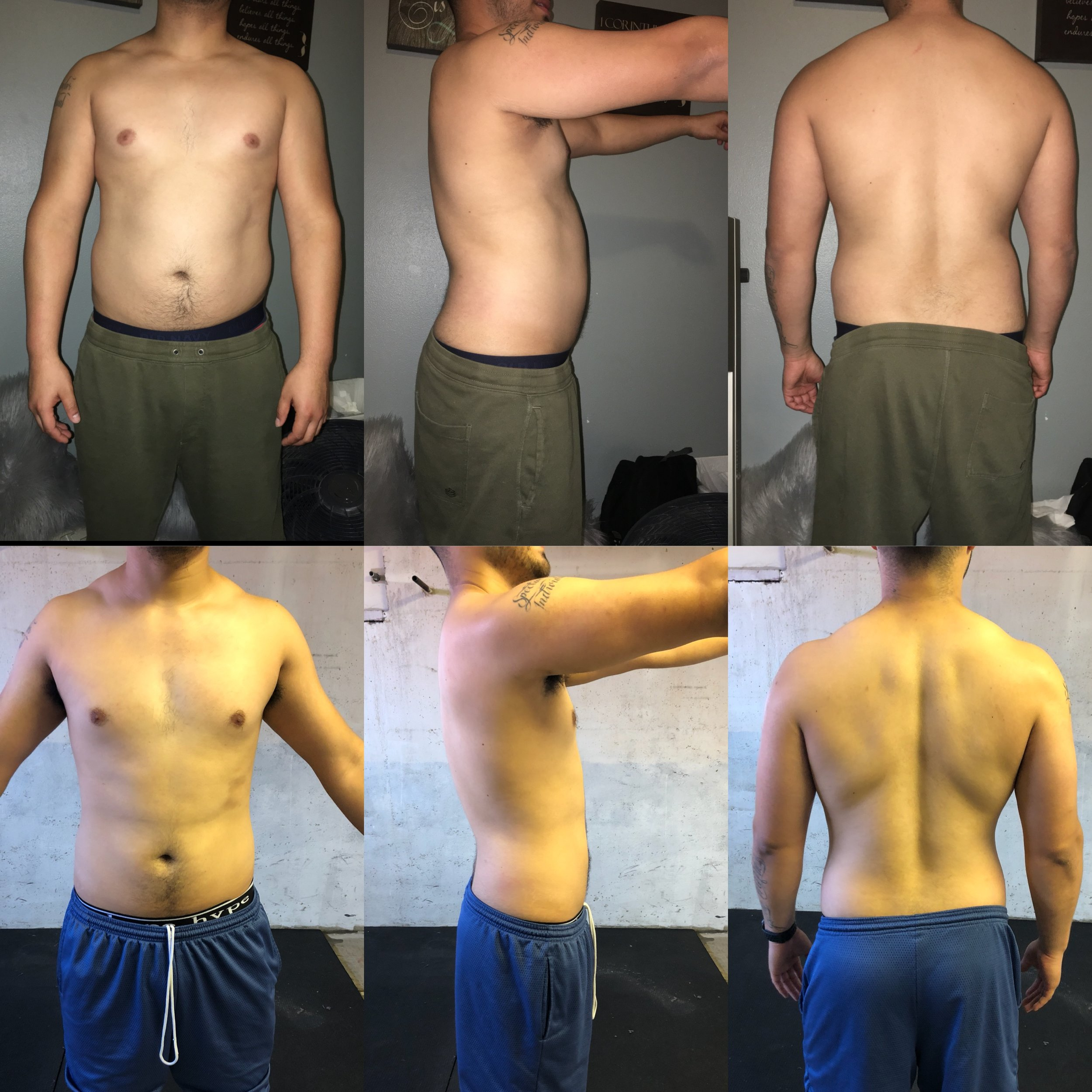 3 Month Dieting - Fernando and I only worked together on his nutrition program. He rarely weight trained, he mostly did cardio. He was busy with a full time job and a full load of college classes. He prioritized his time management, and completed his diet daily for a healthier lifestyle.